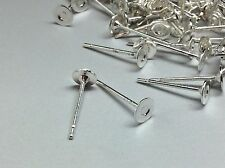 100 Pcs Silver Earring Stainless Steel Post Blanks Findings 4mm flat pad + backs