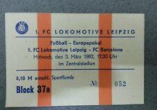 Ticket Billete Entrada CF Barcelona 1.FC Lok Leipzig Copa de Europa Espana DDR
