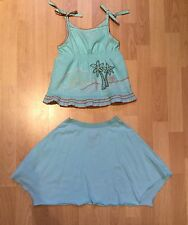 Roxy Teenie Wahine Turquoise Top and Skirt Outfit Girls Size 5 100% Cotton