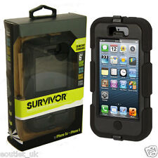 Griffin Survivor dura robusta custodia per iPhone 5 / 5S-Nero / Nero NUOVO