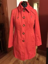 MICHAEL KORS Womens Orange Trench Coat Hooded Spring Jacket  Sz L Large