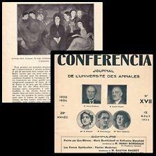 REVUE CONFERENCIA N°17 AOUT 1934 MARIE LAURENCIN A. BAUGE G. RAGEOT H. BORDEAUX