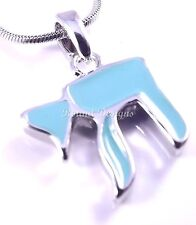 Chai Judaica Necklace Pendant Kabbalah Silver Turquoise Hebrew Jewish Israel