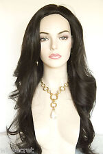 Dark Brown Brunette Long Straight Skin Top Wigs