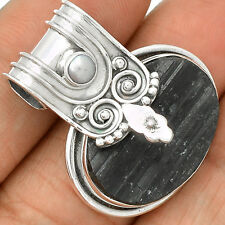 Black Tourmaline Rough & Pearl 925 Sterling Silver Pendant Jewelry SP221626