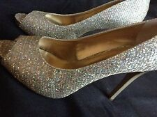 """NINE WEST""LATRISO,NWOB SILVER/GOLD METALLIC PEEP TOE 4""HEEL, HOLIDAY DRESS SHOE"