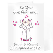 Personalised Civil Partnership Wedding Day Card For Femail Couples