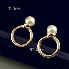 18K SOLID ROSE GOLD GF PEARL EARRINGS SIMPLE ELEGANT STUD