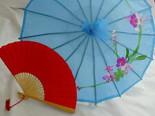 JAPANESE S BLUE PARASOL RED PAPER HAND FAN CHINESE UMBRELLA NEW YEAR GIRL PARTY