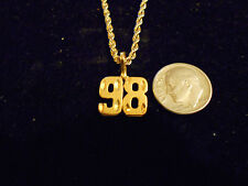 bling gold plated sport didget number 98 pendant charm chain hip hop necklace gp