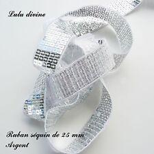 Ruban / Galon séquin paillette de 25 mm, vendu au mètre : Argent