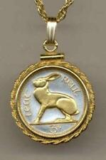 "J&J Coin Jewelry Gorgeous 18"" Gold on Silver Irish  Rabbit 3-Pence/Rope Bezel"