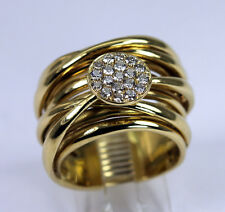 Wide Band 18K Gold Diamond Ring Contemporary Modern Unique C&S