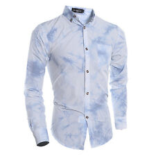 Leisure Men Slim-Fit Shirt Casual Suit Formal Collar Tops Button Long Sleeve Tee