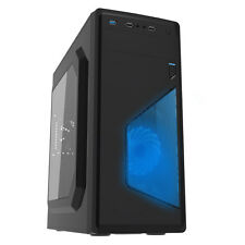 CiT Ignition Black Midi Tower Gaming Case 12cm Blue LED Fan USB 3.0