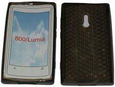 For Nokia Lumia 800 Pattern Soft Gel Case Cover Protector Pouch Black New UK