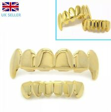Gold Grillz Vampire Fang Teeth Mouth Grills Top Bottom Bling Hip Hop Gangster