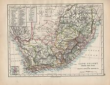 1898 VICTORIAN MAP ~ CAPE COLONY ORANGE FREE STATE & SOUTH AFRICAN REPUBLIC