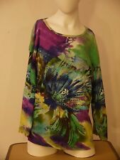 TAKE TWO CLOTHING CO SEQUINED FLORAL DESIGN~SIZE 1X~3/4 SLEEVE~MULTI-COLOR