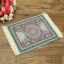 28x18cm Blue Persian Style Mini Woven Rug Mouse Pad Carpet Mousemat With Fringe