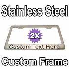 2X Custom Printed Chrome Stainless Steel Metal License Plate Frame YOUR TEXT