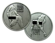 NUDE Heads or Tails Funny Adult Novelty Challenge Flip Coin Antique Silver