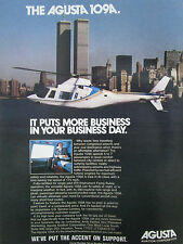 1/1981 PUB AGUSTA HELICOPTER 109A MANHATTAN NEW YORK TWIN TOWERS ORIGINAL AD