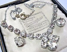 Lovely Vintage Antique Jewellery Art Deco Glass Crystal Rhinestone Drop NECKLACE