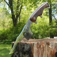 "7"" ELK RIDGE Hunting Skinning FIXED BLADE KNIFE Survival Wood w/ SHEATH"