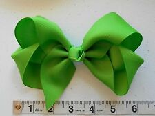 "New Large Green 6"" Grosgrain Girls Handmade Huge Hair Bow"