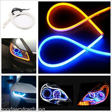2pcs 60cm Blue+Amber Flexible DRL Daytime Running Light LED Strip as Audi Style