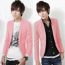 Hot Men Casual Slim Fit One Button Suit Korean Office Blazer Coat Pink M Size