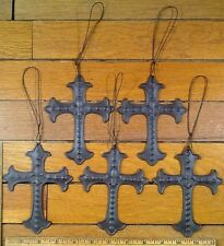 lot of 5 Fleur De Lis CROSSES 5-1/4 x 4 Rustic Metal Wall Cross Decor