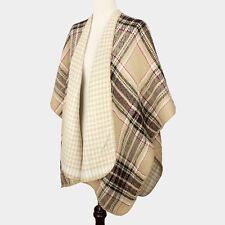 DESIGNER INSPIRED BEIGE PLAID PATTERN REVERSIBLE CAPE PONCHO SCARF SHAWL WRAP