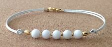 WHITE AGATE Beads, White Leather Cord, Gold Tone Plated, Friendship Bracelet