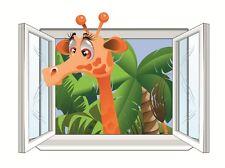 Kinderzimmer Wandbild Wand Tatoo mit Zoo Dschungel Giraffe am Fenster