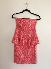 =GORGEOUS= PINKO BLACK Coral Floral Lace Tube Top Strapless Peplum Dress AU 12