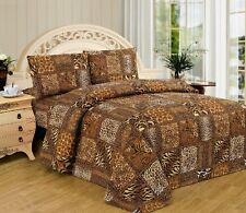 4 Piece King animal jungle leopard zebra print sheet set BROWN 2536A