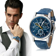 2015 New Luxury Fashion Crocodile Faux Leather Mens Analog Watch Watches Blue
