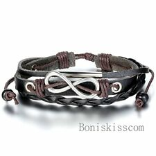 Infinity Love Charm Leather Braided Rope Multiwrap Adjustable Bracelet Men Women