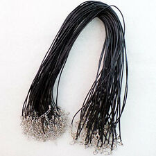 20pcs 2mm Black Real Genuine Leather Necklace Cord 18 inch LL0735