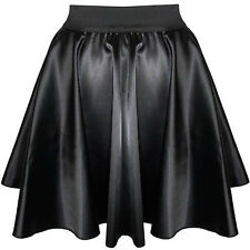 Black Women Girl Satin Short Mini Dress Skirt Pleated Retro Elastic Waist Shiny
