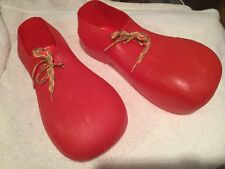 USED Red Plastic Child CLOWN Shoes Vintage Dressup Costume Unisex Wear W/ Shoes