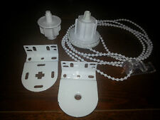 New Blind Parts Roller Holland Side control 3 units, brackets & white chain 38mm