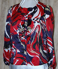 SC BY SARA CAMPBELL RUFFLE FRONT FLORAL PRINT LONG SLEEVE BLOUSE RED NAVY NEW M
