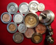"""Profesional Coin Ring Center Punch Set 1 3/4"""" coins Made from 303 Stainless"""