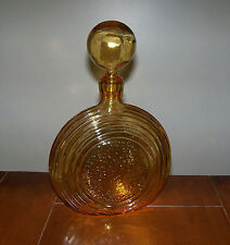 Vintage Mid-Century Yellow Amber Glass Round Ball Stopper Liqueur Decanter