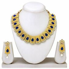 NEW BOLLYWOOD INDIAN BRIDAL GOLD PLATED WEDDING NECKLACE EARRINGS JEWELRY SET