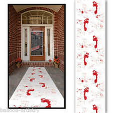 10ft Halloween Horror Bloody FOOTPRINTS Floor Gore White Floor Runner Decoration