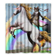 Funny Unicorn and Cat Polyester Fabric Waterproof Shower Curtain + 12 Hooks New